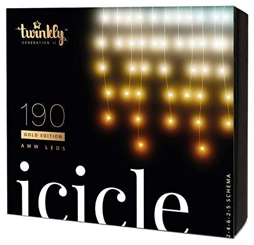 Twinkly Guirlande Lumineuse LED Connectée - Rideau de lumières contrôlé par appli smartphone 190 LED AWW- Éclairage personnalisable IdO - Créez des jeux de lumières (500 x 60 cm) - Édition Gold