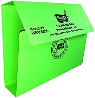 Pharmacy Rx Folder - 1 inch Spine - Fits 150 to 200 prescriptions - Green - 100 per Pack by Amexdrug