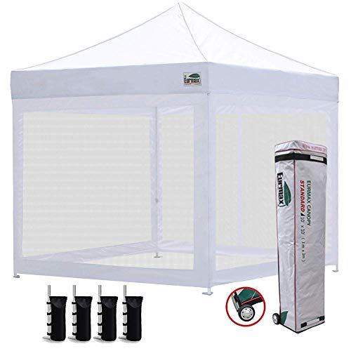 Eurmax 10x10 Ez Pop up Canopy Screen Houses Shelter Commercial Tent with Mesh Walls and Roller Bag,Bouns 4 Sandbags Weight(White)