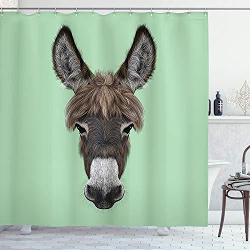 ABAKUHAUS Esel Duschvorhang, Illustriertes Tierporträt, mit 12 Ringe Set Wasserdicht Stielvoll Modern Farbfest & Schimmel Resistent, 175x180 cm, Mehrfarbig