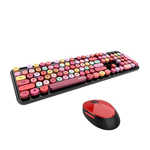 Angle-w Calidad Extraordinaria Teclado inalámbrico USB y Mouse Color Mezclado Rung KeyCap del Panel de plástico Teclado Desmontable Samara Cap Bluetooth Keyboard 104 Controla el Futuro