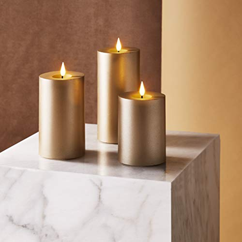 Gold Flameless Candle Set - 3 Inch Diameter Pillar Candles, Flickering 3D Flame with Wick, Battery Operated, Real Wax, Christmas Home Decor, Remote Control & Timer Included - 3 Pack