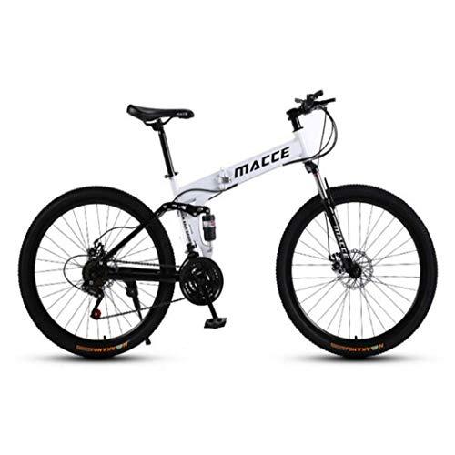 RPOLY 24 Velocidad Bicicleta de Montaña Plegable, Doble Freno de Disco, Variable Fuera de la Carretera Velocidad de la Bicicleta, al Aire Libre de la Bicicleta,White_26 Inch
