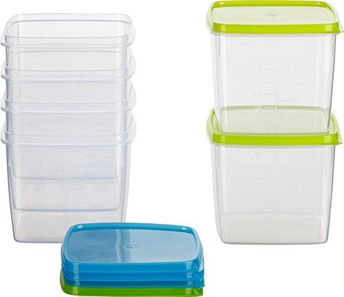 Kigima Frischhaltedose Gefrierbehälter 0,75l quadratisch 11x11x9,5 cm 6er Set blau und grün