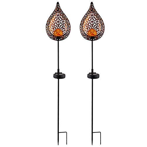 2x LED Solar Außen Lampe Flammen Optik Glas Kugel Steck Strahler gold Garten Erdspieß Lampen Feuer-Effekt Garten Hof Weg Veranda Terrasse