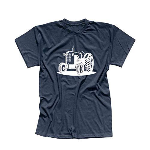 T-Shirt Traktor Oldtimer Trecker Landmaschinen Bauer 13 Farben Herren XS - 5XL Claas Fendt Deutz Landwirtschaft Landtechnik Unimog, Größe:XL, Farbe:Navy - Logo Weiss