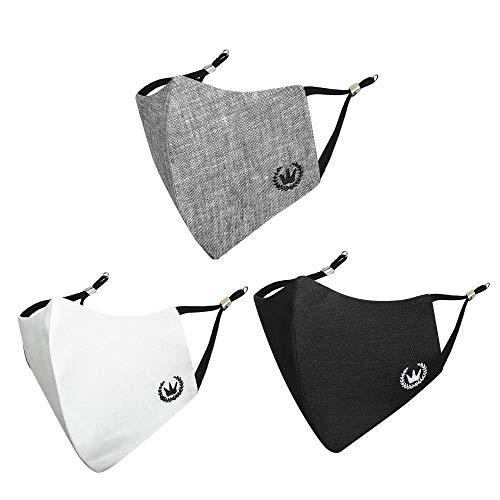 MASQ By Q-One 4 Layer Linen Cloth Face Mask for Men with Mask Strap(L-Pack of 3)