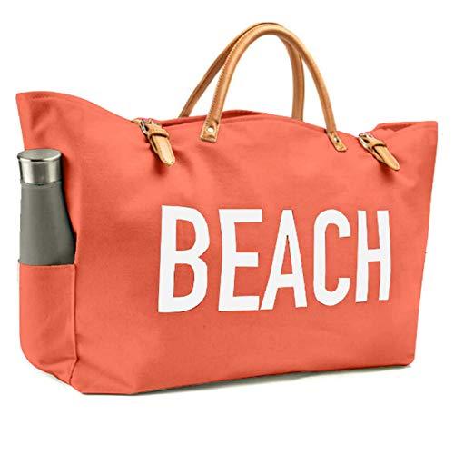 KEHO Bolsa de Playa de Lona Grande, Bolsa de Viaje, Forro Impermeable, 2 Soportes para Bebidas, Bolsillos, Funda para teléfono