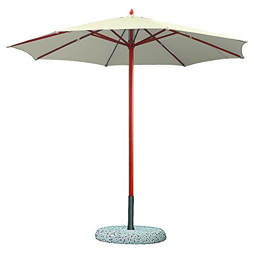 VERDELOOK Ombrellone in Legno a carrucola, 3x3 m, Ecrù, per arredo Esterni Giardino coperture
