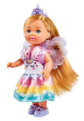 Evi Love Unicorn, 2 Modelos Surtidos, se suministra Solo un artículo, muñeca en Forma de Hada con Estampado de Unicornio y alas para Adelgazar, 12 cm, para niños a Partir de 3 años