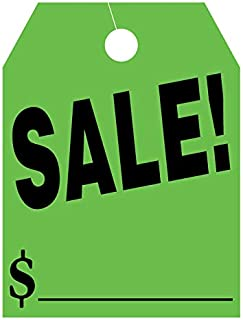 EZ Line Car Mirror Hang Tags Huge Fluorescent Sale Price Tags (Green)