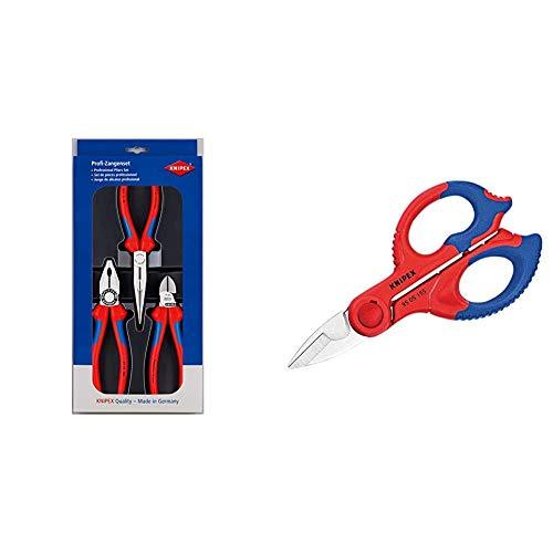 Knipex 00 20 11 Juego de montaje + 95 05 155 SB Tijeras de Electricista, Multicolor, 15.5 cm