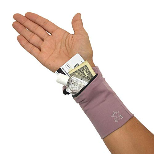 Wrist Wallet for Women - Wrist Locker - Phone Arm Storage Band - for Travel, Running, Festivals, Hiking - Sweatband Wristband-Large Purple- fits iPhone, Samsung and Galaxy Models | by Locker Lifestyle