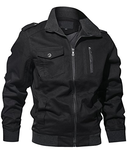 Gopune Men's Casual Cotton Military Jacket (Black,M)