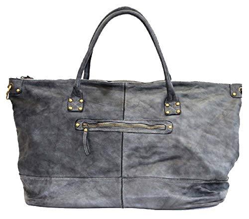 BZNA Bag Joe grau Italy Designer Weekender Damen Reise Tasche Handtasche Schultertasche Leder Shopper Neu