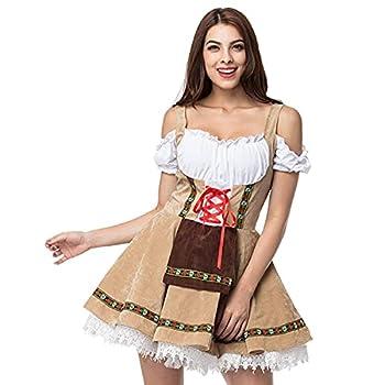 WSHD German Oktoberfest Bavarian Dirndl Beer Maid Costume Khaki
