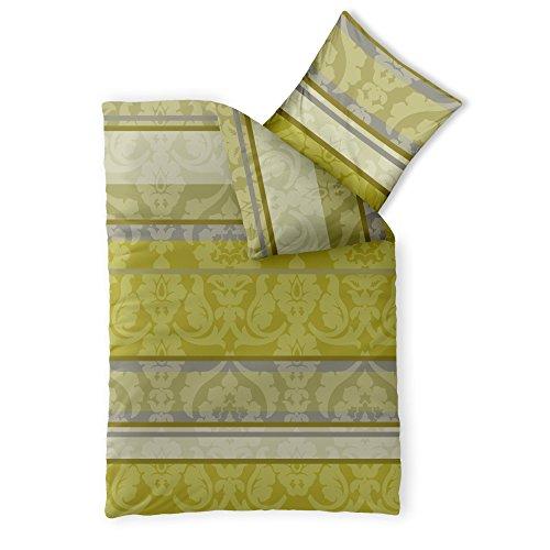 CelinaTex Fashion Bettwäsche 155 x 220 cm 2teilig Baumwolle Carrie Blumen Streifen Grün Grau Beige