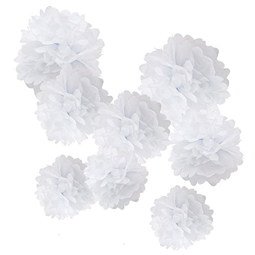 WYZworks Set of 8 (Assorted White Color Pack) 8' 10' 12' Tissue Pom Poms Flower Party Decorations for Weddings, Birthday, Bridal, Baby Showers Nursery Décor