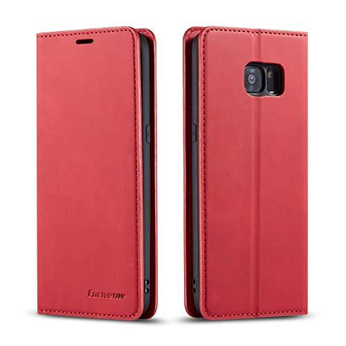 FMPC Coque pour Samsung Galaxy S7, Tenphone Etui Protection Housse Premium PU en Cuir Livre Cover Antichoc Magnétique Portefeuille (Rouge)