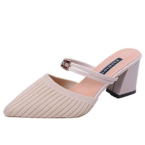 VENMO Damen Sommerschuhe Quadratische Ferse Mesh Slip On Sandalen Kausal Slipper Schuhe Riemchenpumps Stilettos High Heels Badesandalette