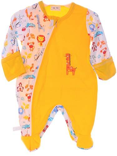 La Bortini Strampler mit Reißverschluss Schlafanug Pyjama Overall 50 56 62 68 74 80 mit Kratzschutz (68)