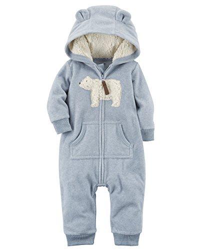 Carter's Baby Boys' One Piece Polar Bear Fleece Jumpsuit 6 Months,6 Months,Blue Bear