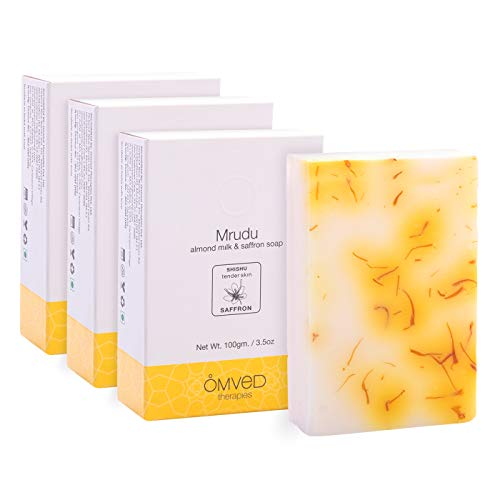 Omved MRUDU Almond Milk and Saffron Nourishing Ayurvedic Baby Soap - 100g (Pack of 3)