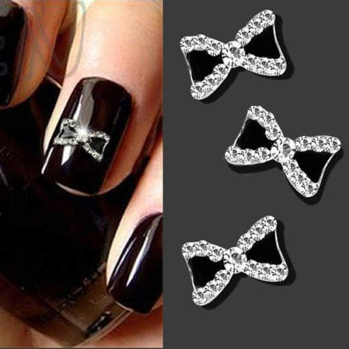 10 Pcs 3D Rhinestone Bowknot Bow Nail Art Tips Decoration Manicure Tools lyhhai