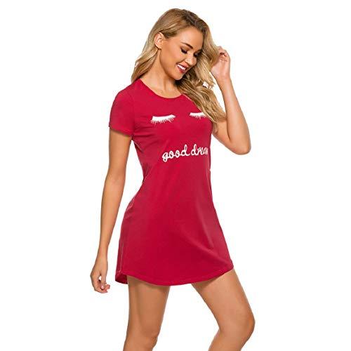 UMIPUBO Camisón suelto para mujer, de manga corta para mujer, cuello redondo, camisón de algodón, suave, cómodo y suave para primavera y verano rojo L