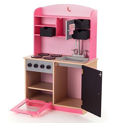 Baby Vivo Kinderküche Spielküche aus Holz Kinderspielküche Küche Holzküche Spielzeugküche mit Tafel - Mila in Rosa - 3