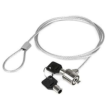 Câble antivol en Acier de 110 cm pour Ordinateur Portable avec Cadenas, Fermeture à clé, 2 clés fournies, Bloc de Protection pour Ordinateur Portable, revêtement en PVC de Haute qualité