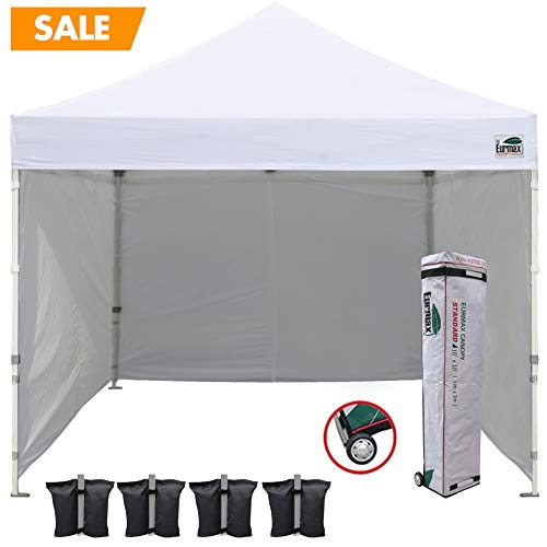 Eurmax 10'x10' Ez Pop-up Canopy Tent Commercial Instant Canopies with 4 Removable Zipper End Side Walls and Roller Bag, Bonus 4 SandBags(White)