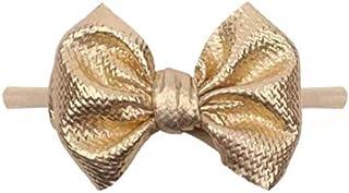 Fascetta per capelli bambina-neonata con fiocco (Oro con fascia in Nylon, Da 3mesi a 3anni)