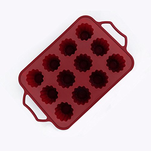 lzndeal 12 Cups Silicone Fondant Cake Mold Stainless Steel Frame Non-Stick Cupcake Mould Baking Tray Kitchen Bakeware Tools