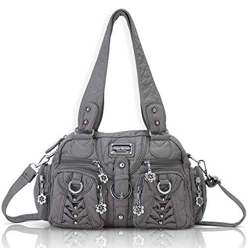 Angel Barcelo Schultertasche Damenmode Handtaschen, Geldbörse, Umhängetaschen, Einkaufstaschen Damen, Mädchen Designer Umhängetaschen Grau