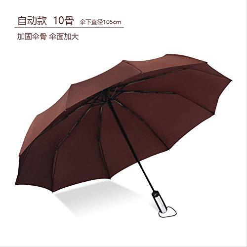 Vollautomatische Business Faltschirm, Große 10 Knochen Doppel Sonnenschirm, Zwei-Wege-Regenschirm DREI Falten Regenschirm Zehn-Aktien-Automatik-Kaffee