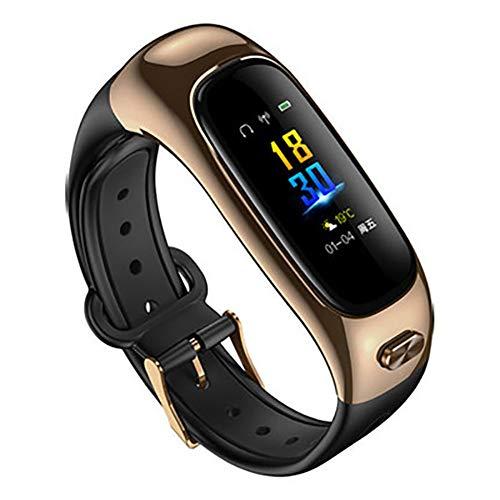 YZY Fitnessarmband, smart talk-armband en waterdichte bluetooth-headset, hartslag- en bloeddrukmeter, stappenteller, roze goud