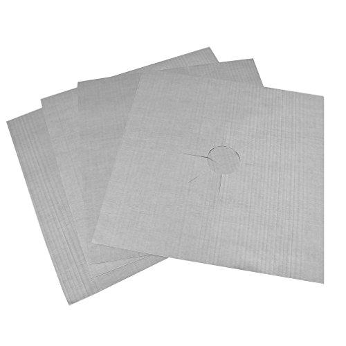 WEQQ Papel de Aluminio Reutilizable 4pcs / Lot Protectores de Estufa de Gas Cubierta Apta para lavavajillas (Plateado)
