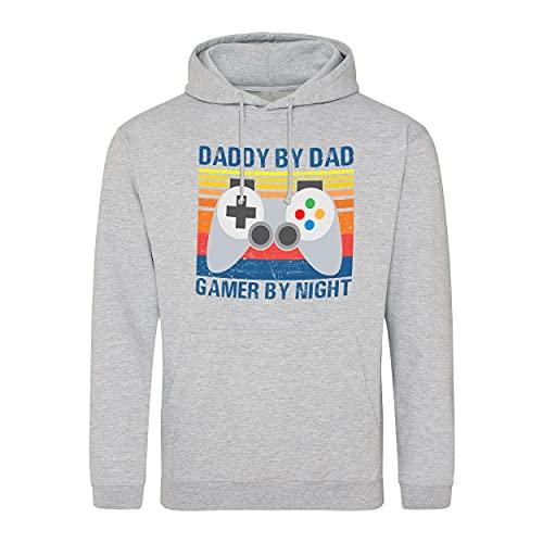 B&S Boutique Vintage Daddy By Day Gamer By Night Father Gift Felpa con Cappuccio Unisex Grigio Size XL