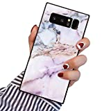 PERRKLD Samsung Galaxy Note 8 Square Edge Case Heavy Duty Protection Shock Absorption Slim Soft TPU Cover Pink Marble Pattern for Samsung Galaxy Note 8
