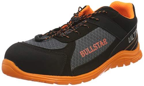 Bullstar Herren Sicherheitsschuh Ultra S1p Arbeitsschuhe, Schwarz (Schwarz/Orange 119), 45 EU