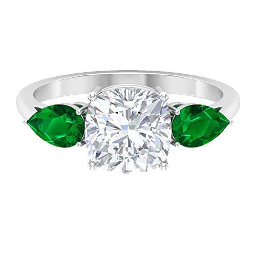 Anillo de moissanita de corte cojín de 8 mm, 4 x 6 mm en forma de pera creado en laboratorio, esmeralda, anillo de tres piedras, 14K White Gold, Lab Created Emerald, Size:US 52