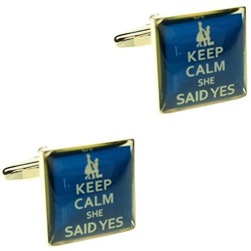 CIFIDET - Gemelos a la moda para novio con la frase 'Keep Calm', se entregan con caja de regalo