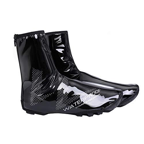 Cubiertas de zapatos de bicicleta de invierno a prueba de viento impermeable MTB Bike Overshoes invierno calentador Ciclismo zapatos cubierta, color Negro, talla XX-Large