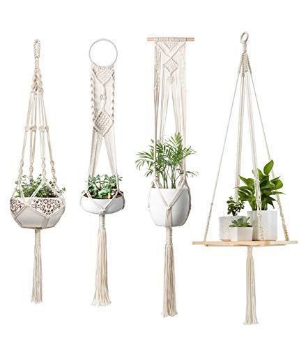 Mkono Macrame Plant Hangers Hanging Plant Shelf Indoor Wall Planter Decorative Flower Pot Holder Boho Home Decor, Set of 4