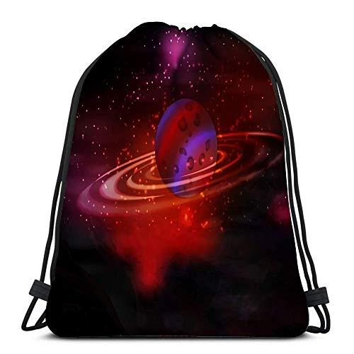N / A Kordelzug Rucksack Taschen Cosmos Bright die Textur ist schön Roter Planet und Ringe Uranus Tragbare Umhängetaschen Travel Sport Gym Bag 36 x 43 cm / 14,2 x 16,9 Zoll