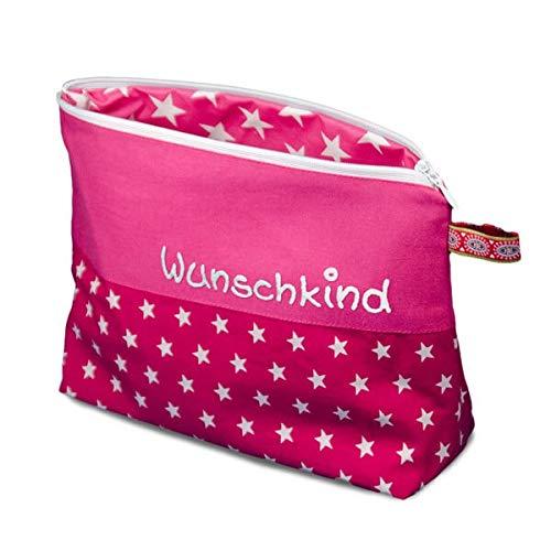 Waschtasche Sterne mit Namen - Waschbeutel für Kinder - Kulturbeutel aus Baumwolle personalisiert, MN_Farbe:pink