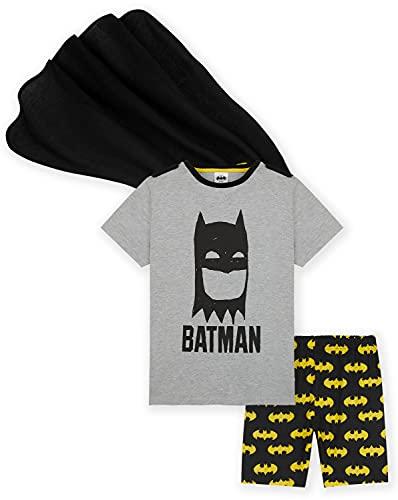 DC Comics Batman Jungen Schlafanzug Superheld Kids PJs mit Batman Umhang Kinder Geschenke Gr. 7-8 Jahre, grau
