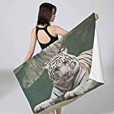 Baby Bath Wrap Towel Tiger,Bengal Symbol Swimming White Beast with Black Sprites Large Cat Animals Having Fun Teal White for Adults Toddler Baby Boys Girls 27x55 inch