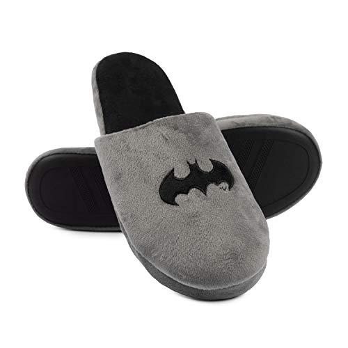 Batman - Hausschuhe für Herren, Grau, Slipper Pantoffeln Superhelden (44/45, numeric_45)